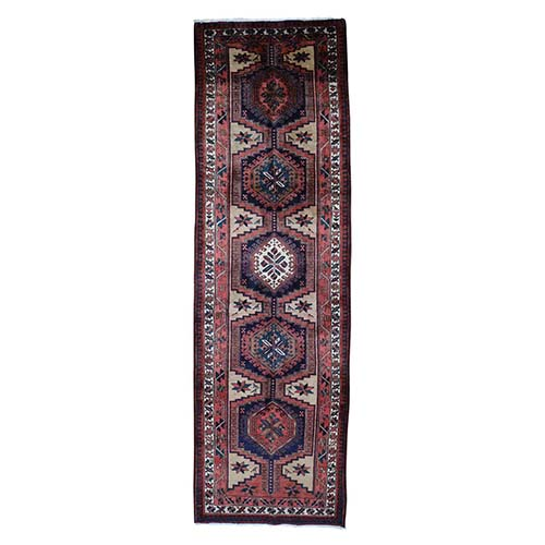 Hand-Knotted Pure Wool Semi Antique Persian Azari Runner Oriental