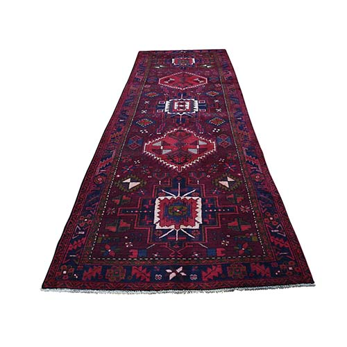 Northwest Persian Heriz Pure Wool Hand-Knotted Wide Runner Oriental Rug