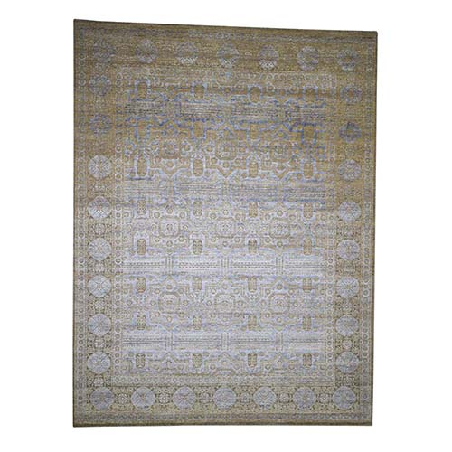 Hand-Knotted Mamluk Design Silk with Oxidized Wool Oriental