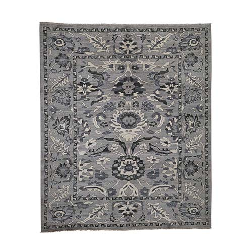 Undyed Natural Wool Mahal Design Hand-Knotted Oriental Rug