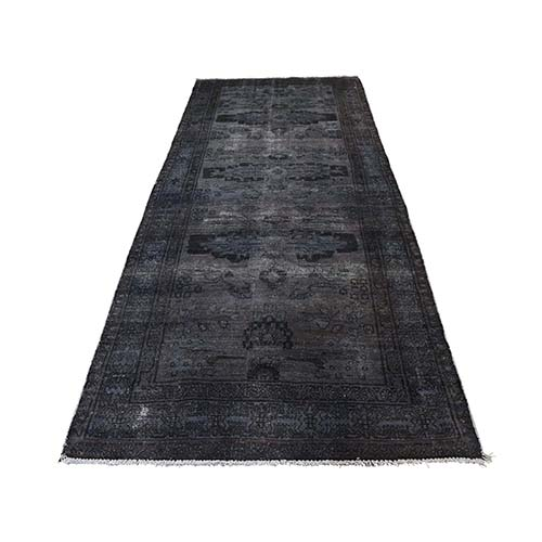 Persian Overdyed Hamadan Pure Wool Wide Runner Hand-Knotted Oriental