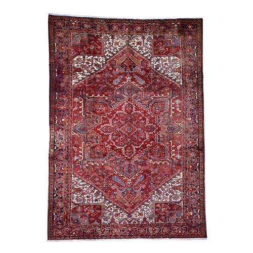 Semi Antique Persian Heriz Hand-Knotted Village Rug