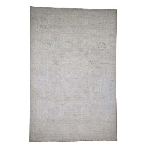 White Wash Peshawar Mamluk Design Hand-Knotted Pure Wool Oriental