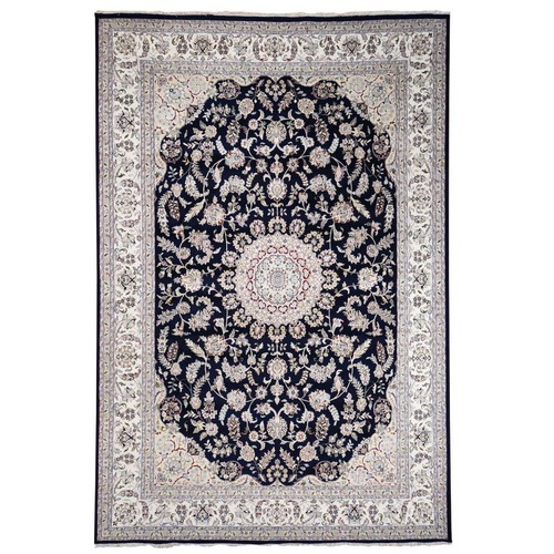 Wool And Silk 250 KPSI Navy Blue Nain Hand-Knotted Oriental Rug