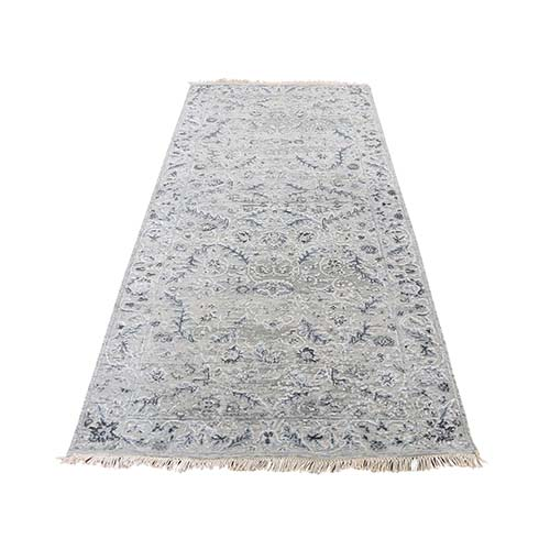 Hand-Knotted Wool and Silk Transitional Kashan Design Runner Oriental