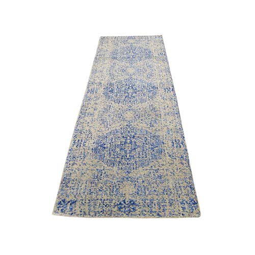 Wool And Silk Mamluk Design Hand-Loomed Runner Oriental