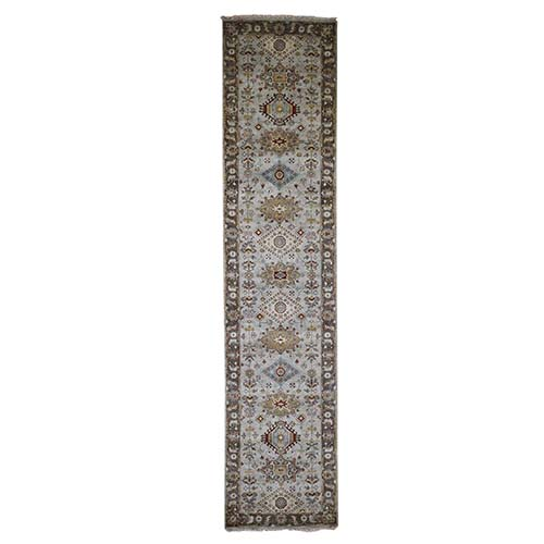 Pure Wool Karajeh Design Hand-Knotted Runner Oriental
