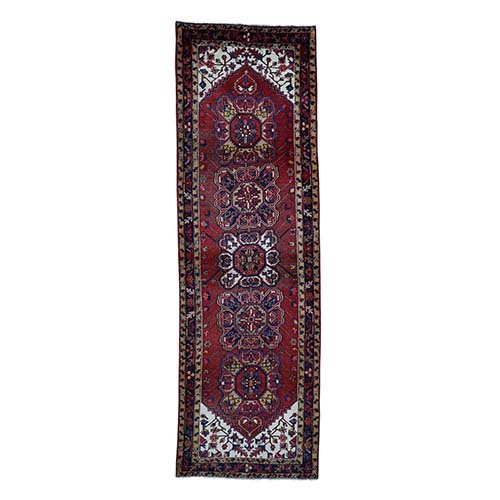 Semi Antique Persian Heriz Wide Runner Hand-Knotted Oriental Rug
