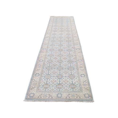 Sky Blue Runner Washed Out Khotan Hand Knotted Oriental