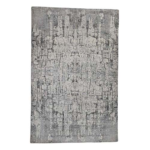THE TREE BARK Abstract Hand-Knotted Soft Wool Oriental