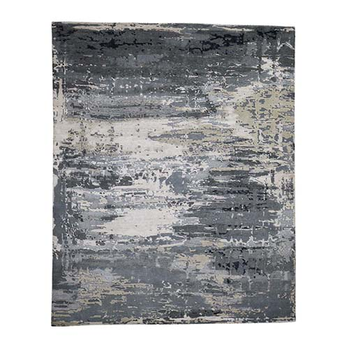 Hi-Low Pile Abstract Design Wool And Silk Hand-Knotted Oriental