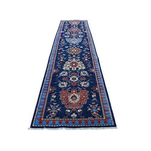 Peshawar With Antique Heriz Design Runner Pure Wool Hand-Knotted Oriental