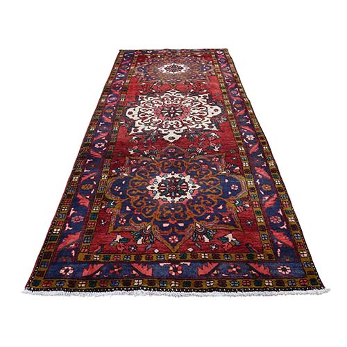 Semi Antique Persian Heriz Wide Runner Pure Wool Mint Condition Hand-Knotted Oriental Rug
