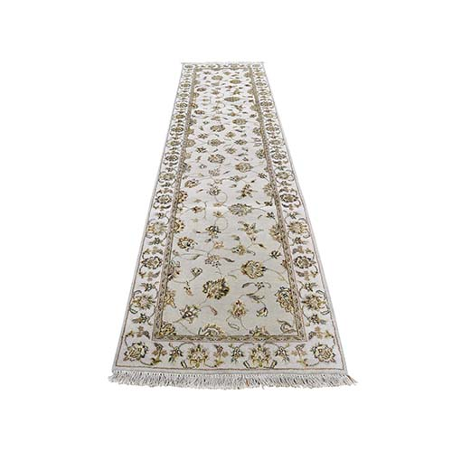 Hand-Knotted Half Wool and Half Silk Rajasthan Runner Oriental