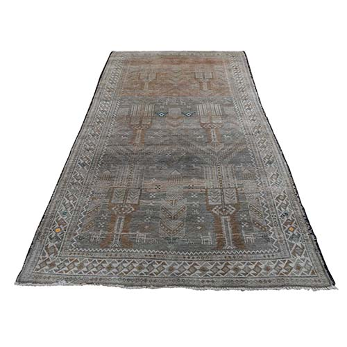 Vintage Look Afghan Baluch Pure Wool Wide Runner Hand-Knotted Oriental