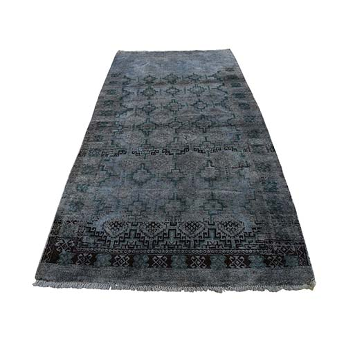 Vinatge Look Afghan Baluch Pure Wool Wide Runner Hand-Knotted Oriental