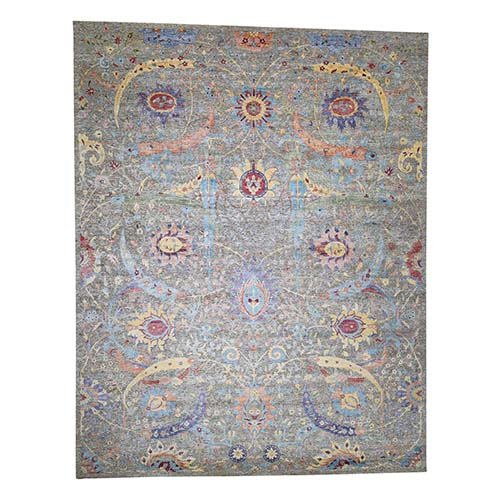 Hand-Knotted Sickle Leaf Design Textured Silk With Textured Wool Oversize Oriental Rug