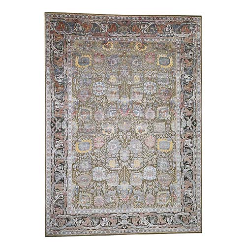 Silk With Textured Wool Tabriz design Hand-Knotted Oriental