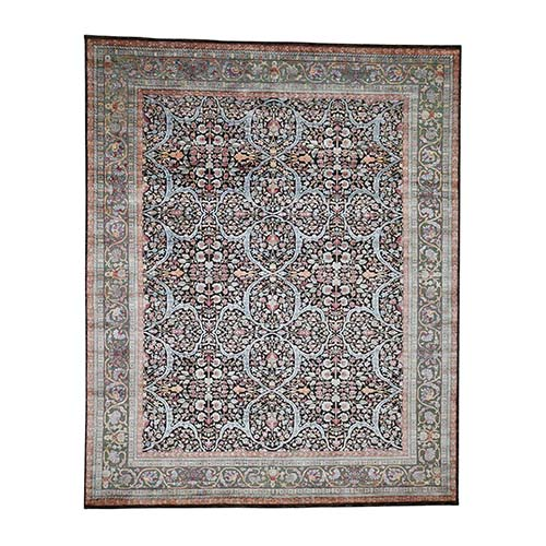 Silk With Oxidized Wool Kashan Design Hand-Knotted Oriental Rug