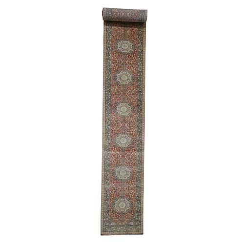 Hand-Knotted XL Runner Antiqued Haji Jalili Re-Creation Oriental