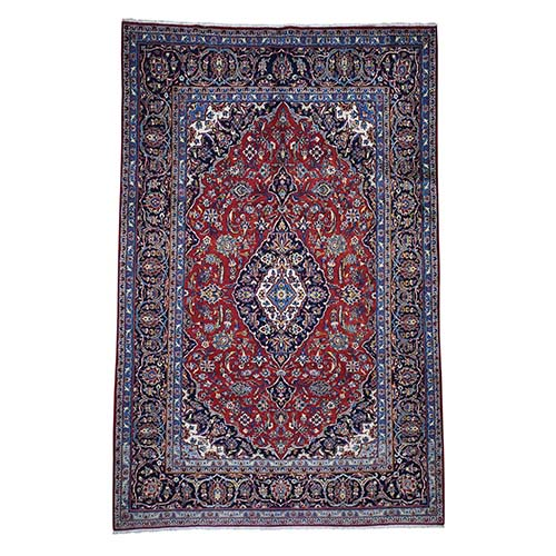 Semi Antique Persian Kashan Pure Wool Hand-Knotted Oriental