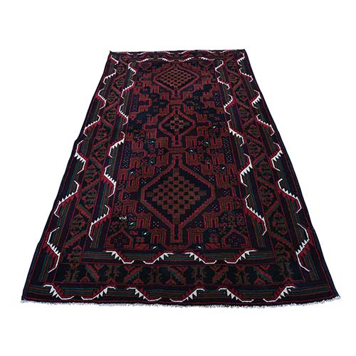 Hand-Knotted Afghan Baluch Pure Wool Tribal and Geometric