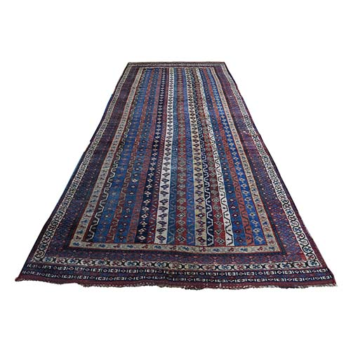 Antique Persian Tribal Lori Buft With Shawl Design Wide Runner Hand-Knotted Oriental