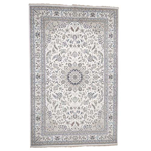 Hand-Knotted Wool and Silk 250 Kpsi Ivory Nain Oversize Oriental Rug