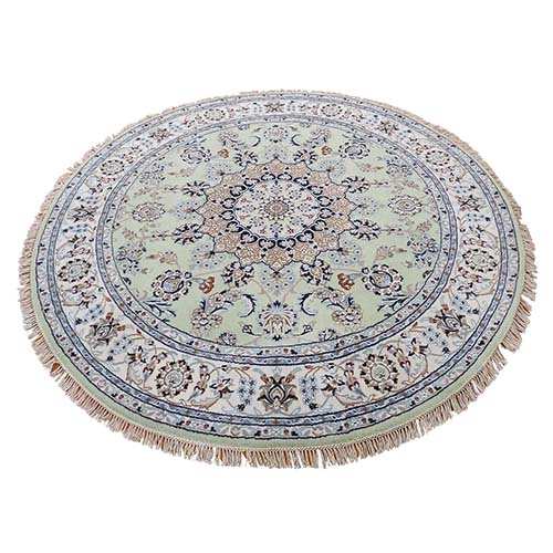Hand-Knotted Wool and Silk 250 KPSI Round Light Green Nain Oriental