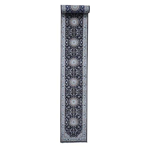 Wool And Silk 250 KPSI XL Runner Navy Blue Nain Hand-Knotted Oriental