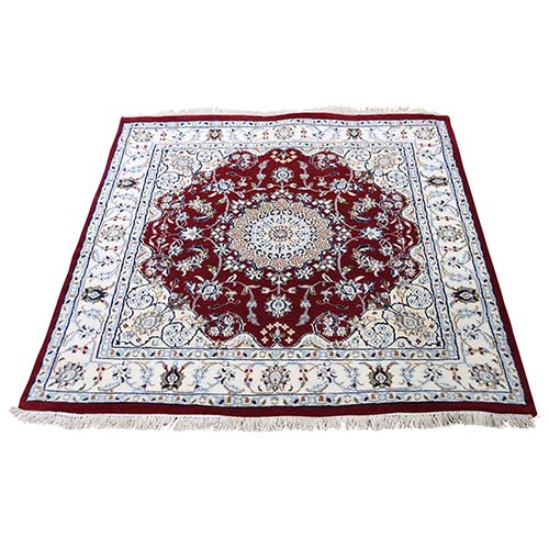 Wool And Silk 250 Kpsi Square Red Nain Hand-Knotted Oriental