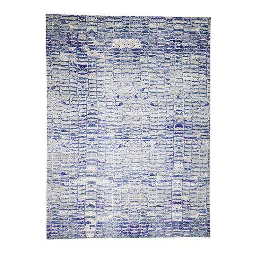 Diminishing Bricks Sari Silk Hand-Knotted Oriental Rug