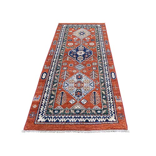 Northwest Peshawar Hand Knotted With People And Animal Runner Oriental Rug
