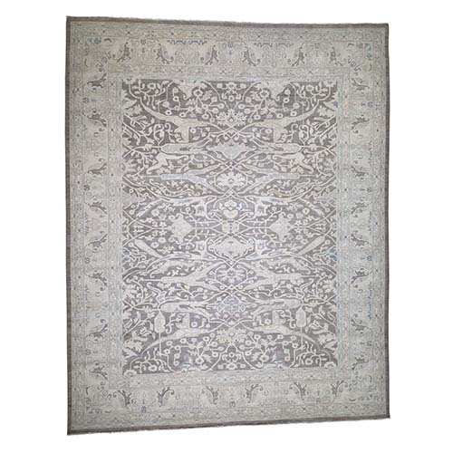Peshawar With Oushak Design Silver Wash Oversize Pure Wool Hand-Knotted Oriental Rug