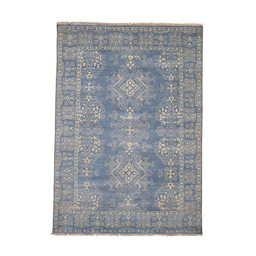 Hand-Knotted Pure Wool Oushak Tone On Tone Denim Blue Oriental