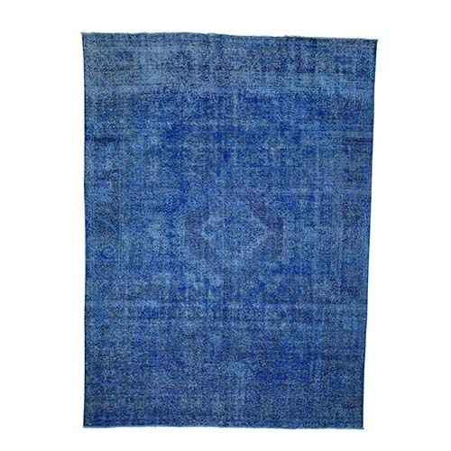 Overdyed Tabriz Sheared Low Hand-Knotted Pure Wool Oriental