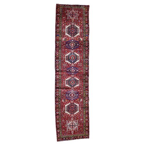 Semi Antique Persian Karajeh Heriz Exc Condition Pure Wool Wide Runner Hand-Knotted Oriental