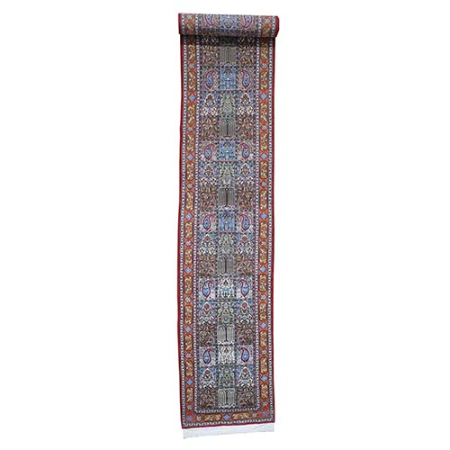 Persian Wool And Silk Qum 300 Kpsi Garden Design XL Runner Hand-Knotted Oriental