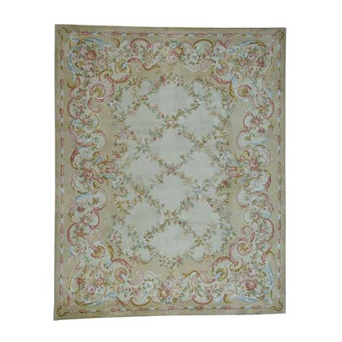 Savonnerie Floral Trellis Design Thick And Plush Hand-Knotted Oriental