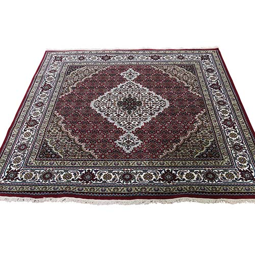 Hand-Knotted Wool And Silk Tabriz Mahi Square Oriental