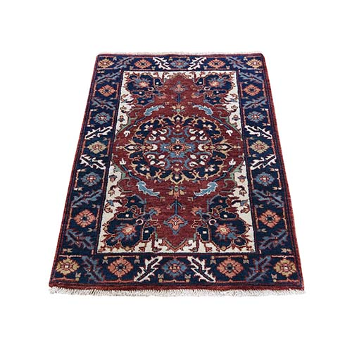 Antiqued Heriz Re-creation Hand-Knotted Pure Wool Oriental