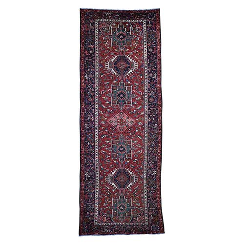 Semi Antique Persian Karajeh Heriz Pure Wool Wide Gallery Runner Hand-Knotted Oriental