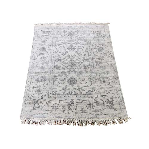 Broken Tabriz Mahi Design Wool And Silk Blend Hand-Knotted Oriental