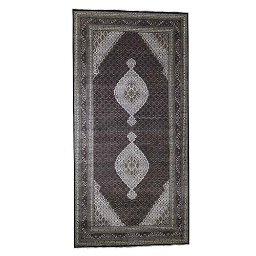 Gallery Size Wool and Silk Tabriz Mahi Design Hand-Knotted Oriental