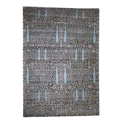Cypress Tree Design Silk with Textured Wool Hand-Knotted Oriental Rug