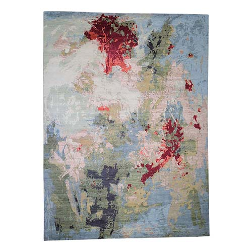 Wool And Silk Hi And Lo Pile Abstract Design Hand-Knotted Oriental