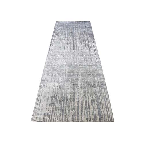 Ombre Design Pure Silk Hand-Knotted Runner Oriental Rug