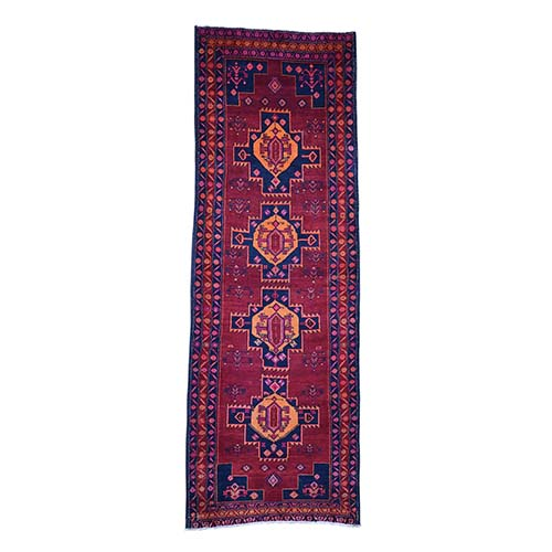 Vintage Persian Hamadan Wide Runner Pure Wool Hand-Knotted Oriental