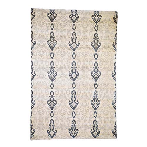 Ikat Design Pure Wool Hand Knotted Oriental