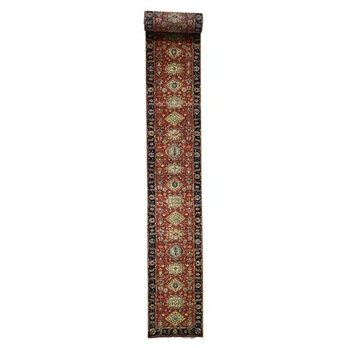 Pure Wool Karajeh XL Runner Hand Knotted Oriental